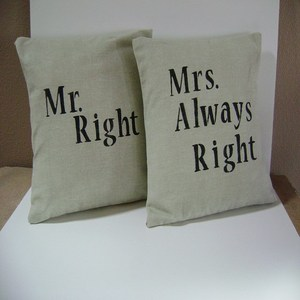 Mr and Mrs. Always Right Cushion