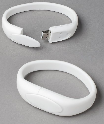 White Wristband USB Flash Memory Drive 16GB