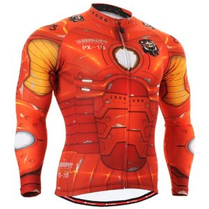 Fixgear Mens Man Of Iron Style Cycling Jersey, Robotic Red