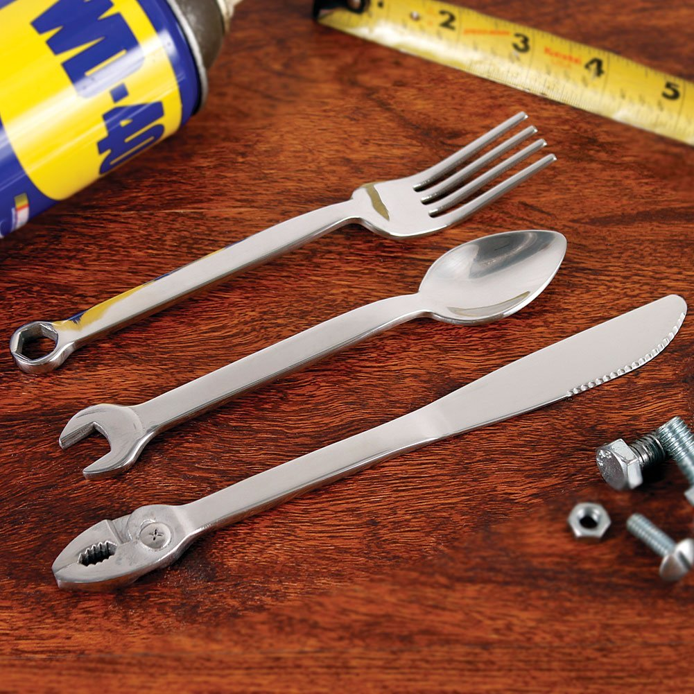 Wrenchware 3-Piece Silverware Cutlery Set Knife Fork & Spoon Handyman Tools