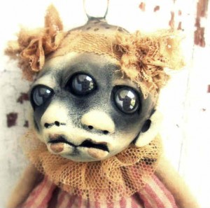 Creepy Halloween demon baby doll