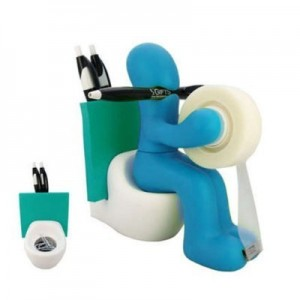 Guy Sitting on Toilet Accessory Holder