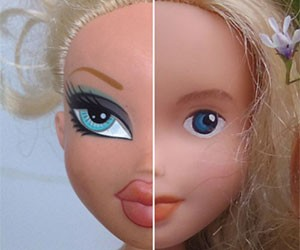 Refashioned, repainted Bratz dolls