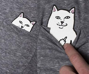 cat flipping off tshirt