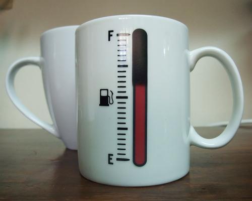 tank meter coffee mug