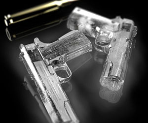 Handgun Shaped Ice Cubes