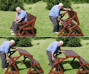 Picnic Table & Garden Bench 2-in-1