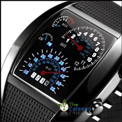 RPM Turbo Blue & White Flash LED Watch Brand NEW Gift Sports Car Meter Dial