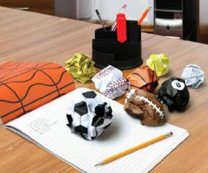 crumpled sport balls paper