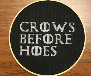 crows before hoes cross stitch