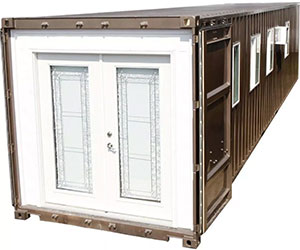 A pre-fabricated home in a shipping containe